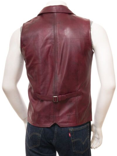 Mens Burgundy Leather Waistcoat - Back - Clive