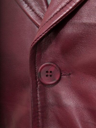 Mens Burgundy Leather Waistcoat - Button - Clive