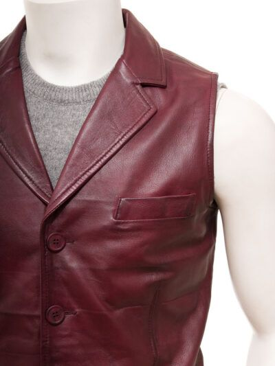 Mens Burgundy Leather Waistcoat Clive