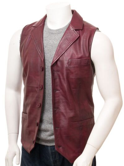 Mens Burgundy Leather Waistcoat - Front - Clive