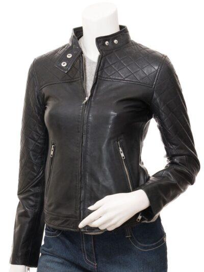 Women Black Biker Quilted Shoulders Leather Jacket - Front - Granity