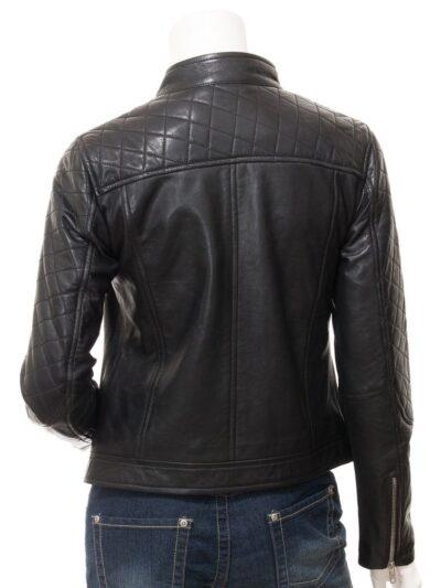 Women Black Quilted Shoulder Leather Jacket - Back - Granity
