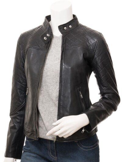 Women Black Quilted Shoulder Leather Jacket - Front Open - Granity