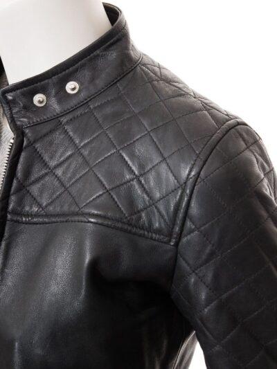 Women Black Quilted Shoulder Leather Jacket - Shoulder Closer - Granity