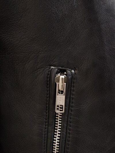 Women Black Quilted Shoulder Leather Jacket - Zip - Granity