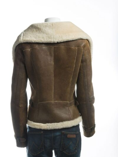 Women Brown Wide Lapel Collar Shearling Leather Jacket - Back - Levin