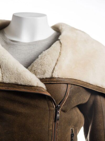 Women Brown Wide Lapel Collar Shearling Leather Jacket - Collar - Levin