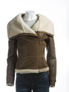Women Brown Wide Lapel Collar Shearling Leather Jacket: Levin