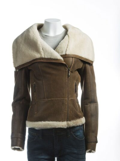 Women Brown Wide Lapel Collar Shearling Leather Jacket - Front - Levin