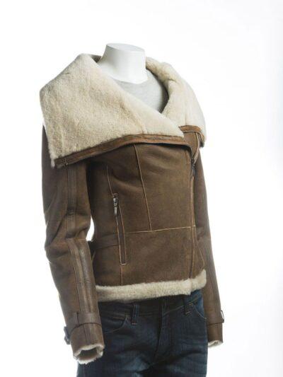 Women Brown Wide Lapel Collar Shearling Leather Jacket - Side - Levin