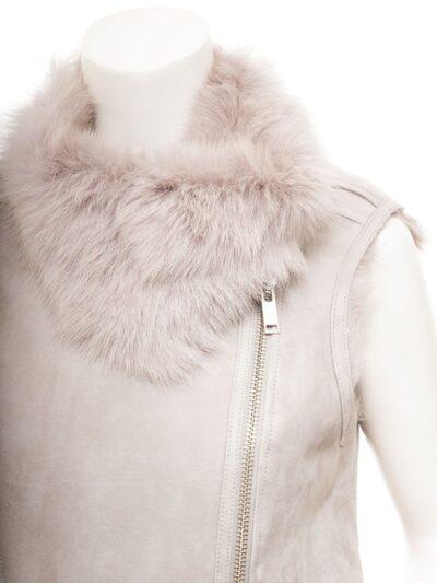 Women Grey Toscana Shearling Leather Gilet Front - Tasman