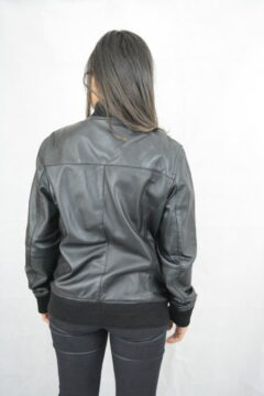 Women's Black Bomber Leather Jacket: Cheviot