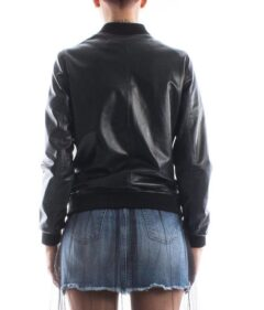 Women's Simple Black Bomber Leather Jacket: Cust