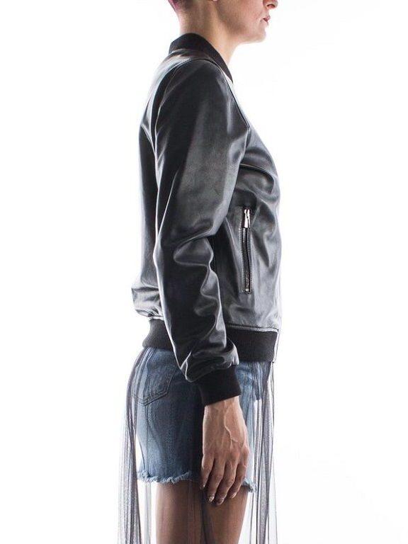 Womens Black Bomber Leather Jacket - Cust