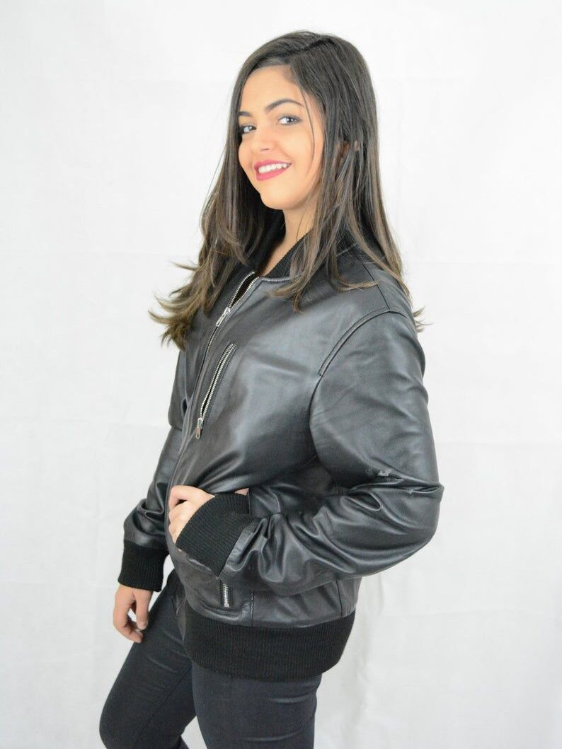 Womens Black Bomber Leather Jacket - Front - Cheviot