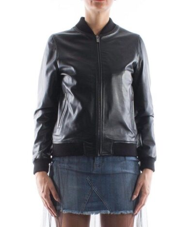 Womens Black Bomber Leather Jacket - Front - Cust