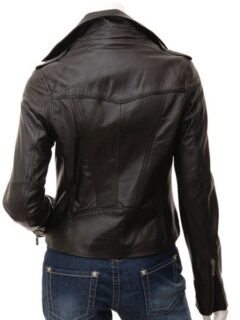 Women's Black Shirt Collar Biker Leather Jacket: Colville