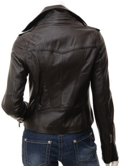 Womens Black Brando Biker Leather Jacket - Back - Colville