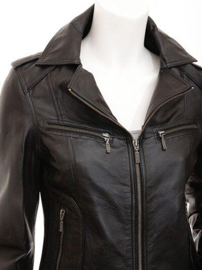 Womens Black Brando Biker Leather Jacket - Closer - Colville