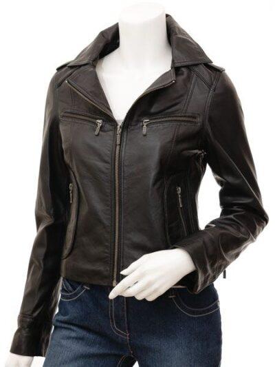Womens Black Brando Biker Leather Jacket - Front - Colville