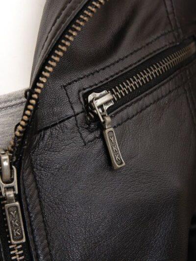 Womens Black Brando Biker Leather Jacket - Zip - Colville