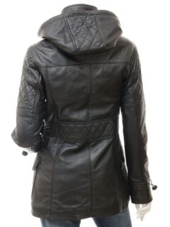 Women's Black Leather Parka Coat with Detachable Hood: Herbert