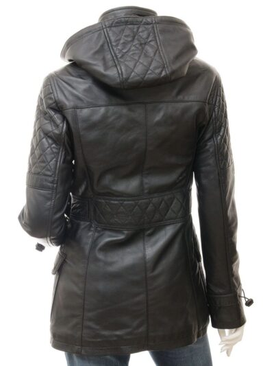 Womens Black Leather Parka Coat - Back - Herbert