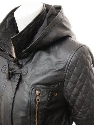 Womens Black Leather Parka Coat - Closer - Herbert