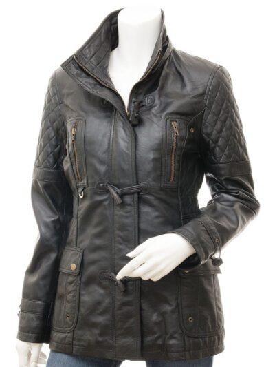 Womens Black Leather Parka Coat - Front - Herbert