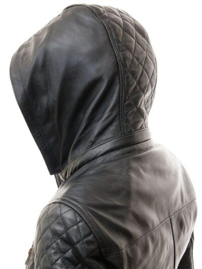 Womens Black Leather Parka Coat - Hood - Herbert