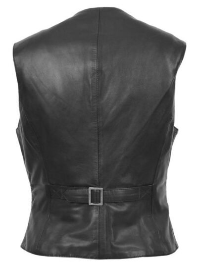 Womens Black Leather Vest - Back - Flaxton