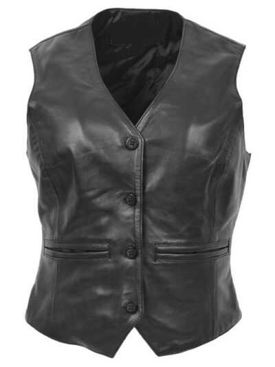 Womens Black Leather Vest - Front - Flaxton