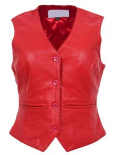 Women's Red Sheepskin Leather Vest: Lumsden