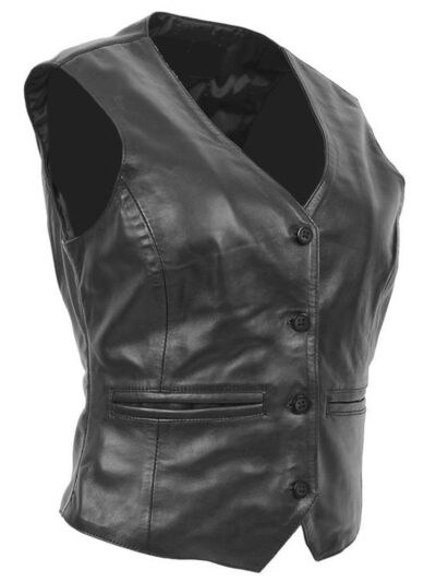 Womens Black Leather Vest - Side - Flaxton