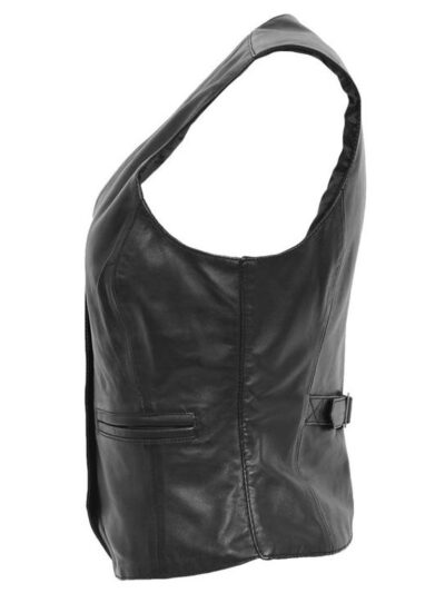 Womens Black Leather Vest - Side Sleeves - Flaxton
