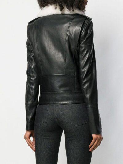 Womens Black Shearling Leather Jacket - Back - Karamea