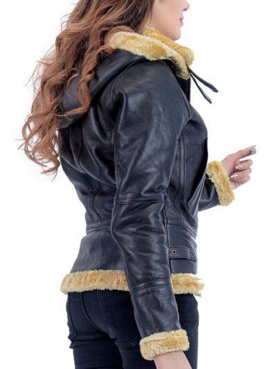 Womens Black Shearling Leather Jacket - Back - Norfolk