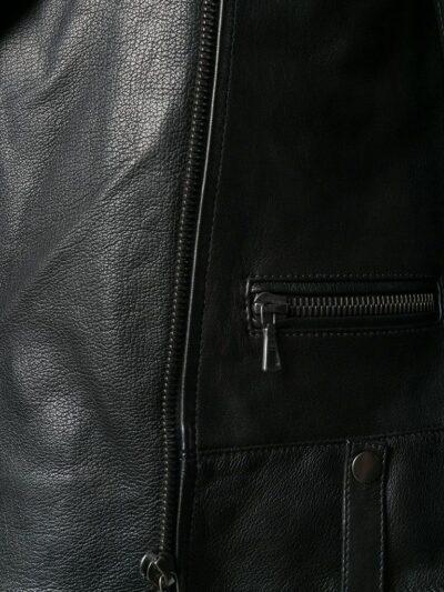 Womens Black Shearling Leather Jacket - Closer - Karamea