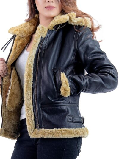 Womens Black Shearling Leather Jacket - Front Close - Norfolk