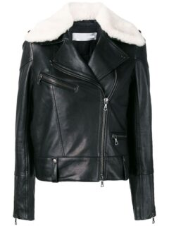 Women's Black Shearling Leather Jacket: Karamea
