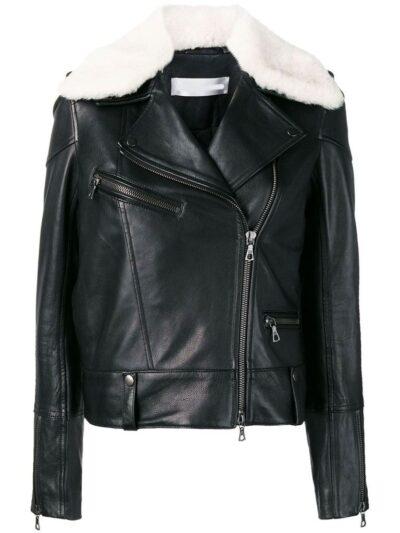 Womens Black Shearling Leather Jacket - Front - Karamea
