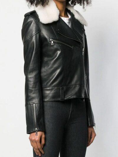 Womens Black Shearling Leather Jacket - Karamea