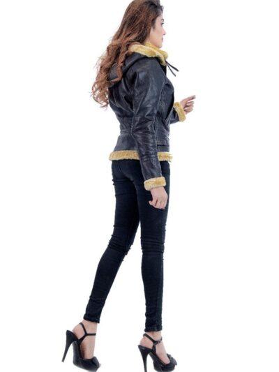 Womens Black Shearling Leather Jacket - Side - Norfolk