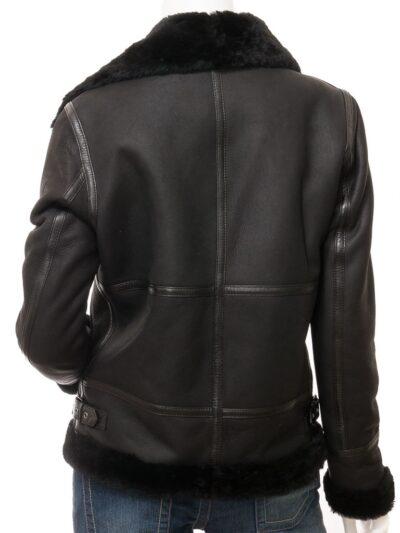 Womens Black Suede Aviator Leather Jacket Back - Amberley