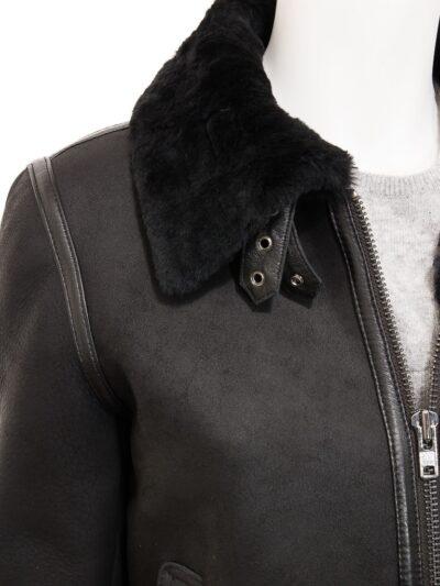 Womens Black Suede Aviator Leather Jacket Collar - Amberley