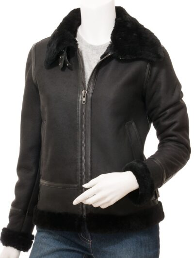 Womens Black Suede Aviator Leather Jacket Front 2 - Amberley