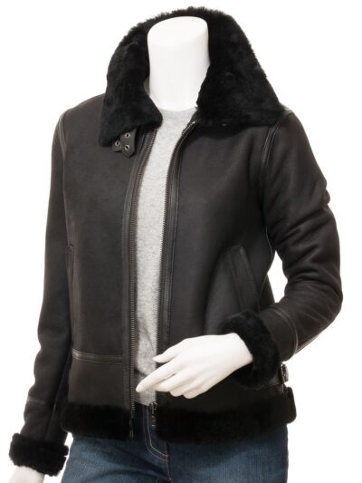 Womens Black Suede Aviator Leather Jacket Front - Amberley