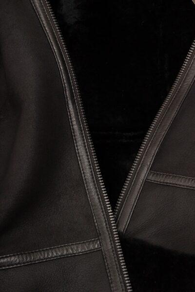 Womens Black Suede Aviator Leather Jacket Inner - Amberley