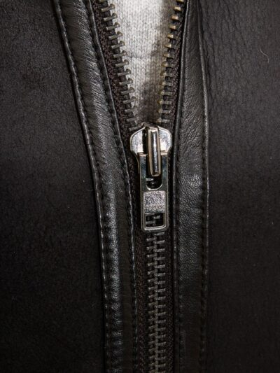 Womens Black Suede Aviator Leather Jacket Zip - Amberley