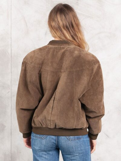 Womens Brown 80s Suede Bomber Leather Jacket Back - Balfour